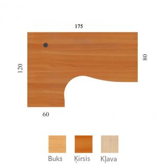 Galda virsma 175/80x120/60 cm